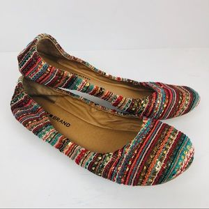 Lucky Brand Emmie Boho 8.5 Aztec ballet flats